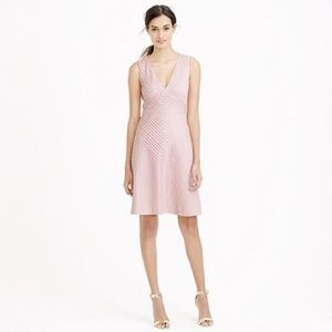 NWT J.Crew Blush Pink Chevron Pleated Dress
